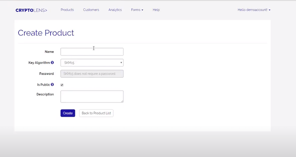 Cryptolens product creation