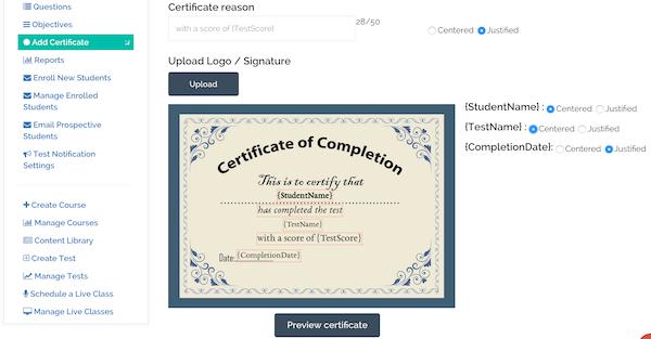 BrainCert E-Learning Platform customizable certificates