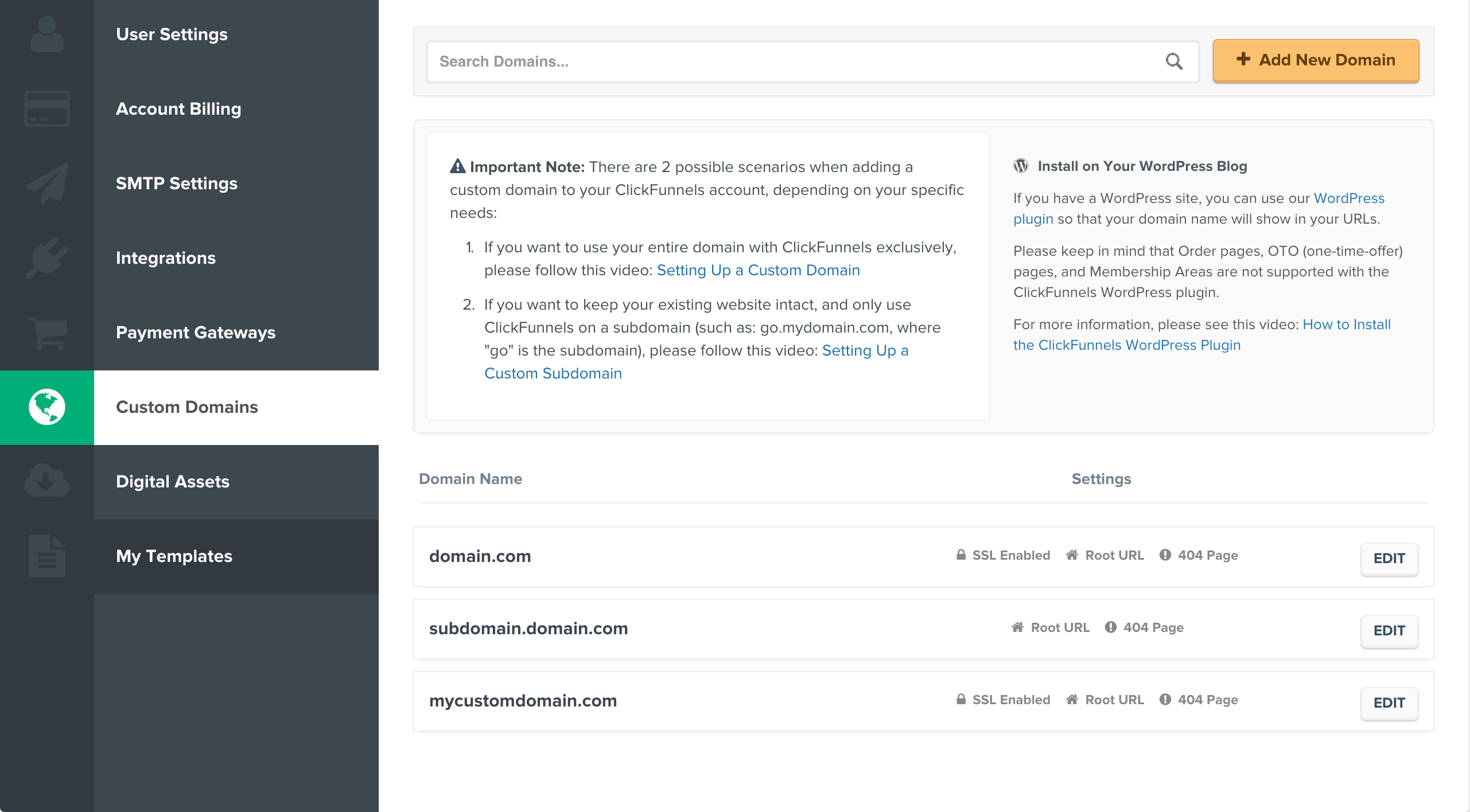 Custom domain settings