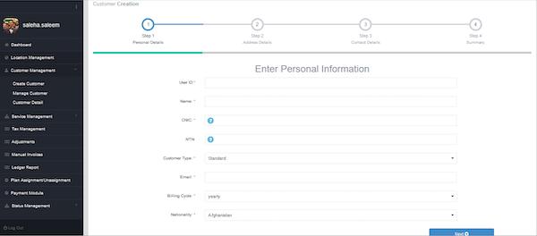 Telco Billing Solution customer creation screenshot
