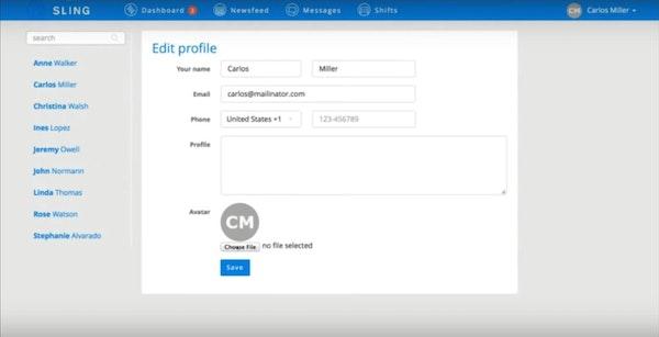 Sling customizable employee profiles
