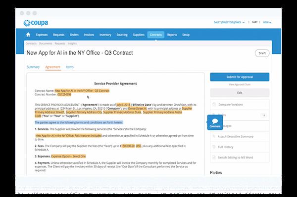 Coupa Contract Management customizable templates
