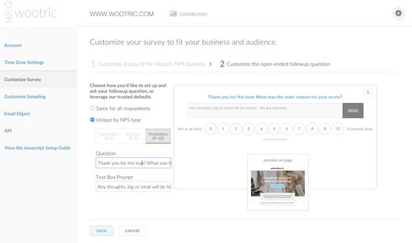 Customize net promoter score survey