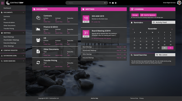 ContractZen homepage with different color theme