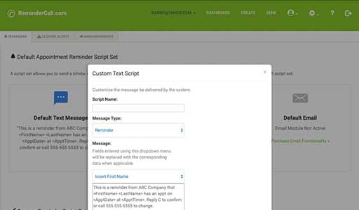 ReminderCall - ReminderCall custom text script