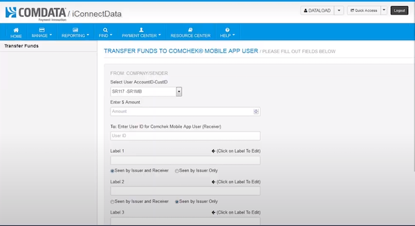 ASAP by Comdata transfer funds