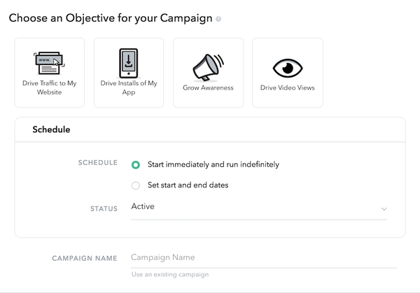 Snapchat select campaign objectives