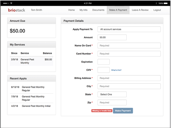 Briostack payment processing