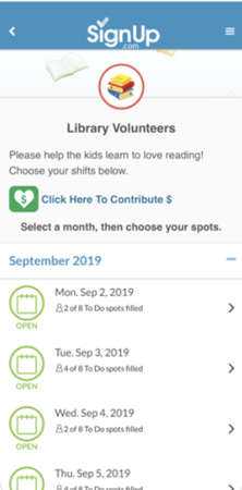 SignUp.com library volunteers