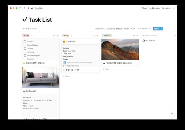 Notion tasklist