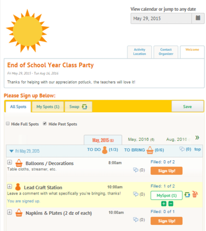 SignUp.com calendar view