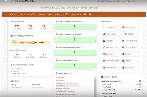 EngageMore CRM dashboard