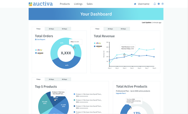 Auctiva dashboard