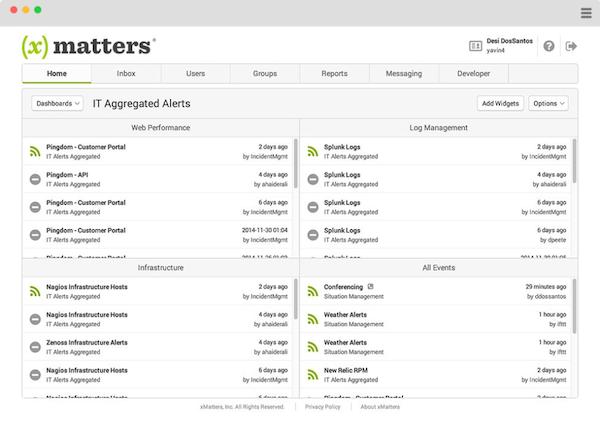 xMatters dashboard screenshot