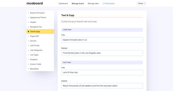 Niceboard Admin dashboard settings