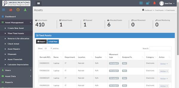 Webscreations FAMS assets screenshot