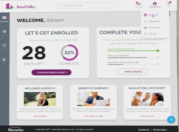 eBenefits dashboard screenshot.