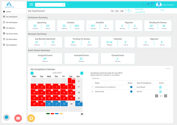 Avacom compliance calendar screenshot