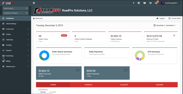 Roadpro dashboard