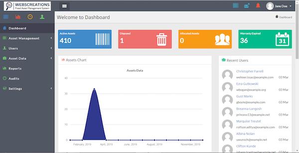 Webscreations FAMS dashboard screenshot