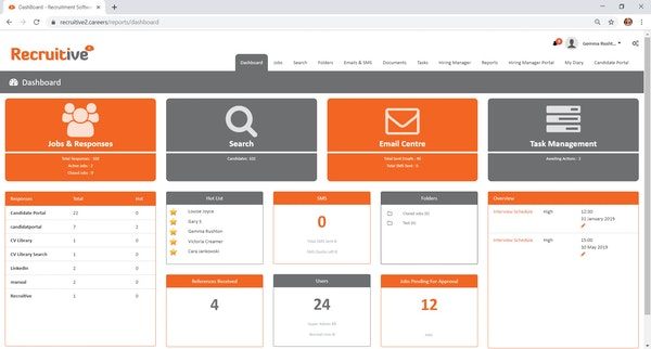 Recruitive dashboard screenshot