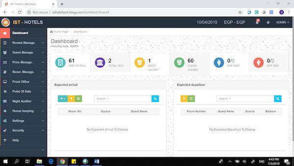 Hotel Management System dashboard screenshot