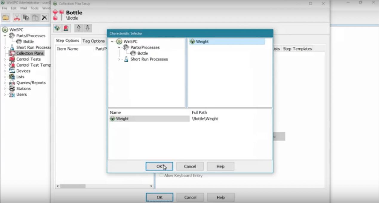 WinSPC - WinSPC data capture characteristics selector screenshot