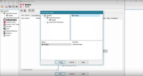 WinSPC data capture characteristics selector screenshot