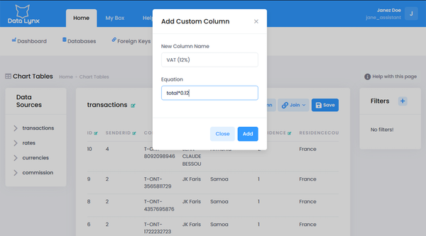 DataLynx add column