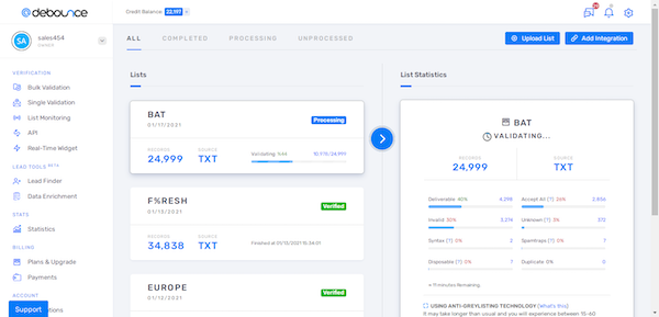 DeBounce dashboard