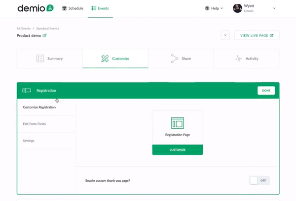 Demio registration form creation