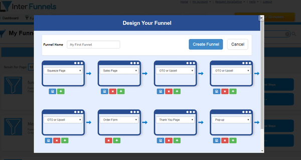 InterFunnels funnel designing screenshot