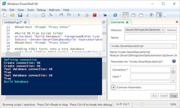 dbForge DevOps Automation for SQL Server Windows PowerShell screenshot