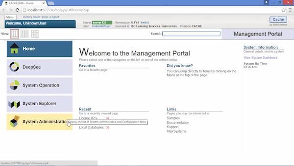 Caché online management portal