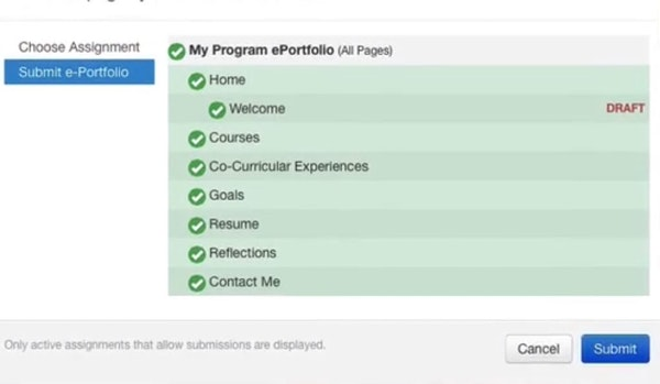 Digication submit portfolios