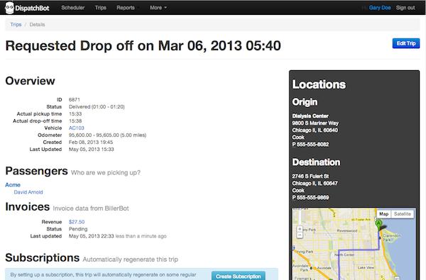 DispatchBot Trip Management