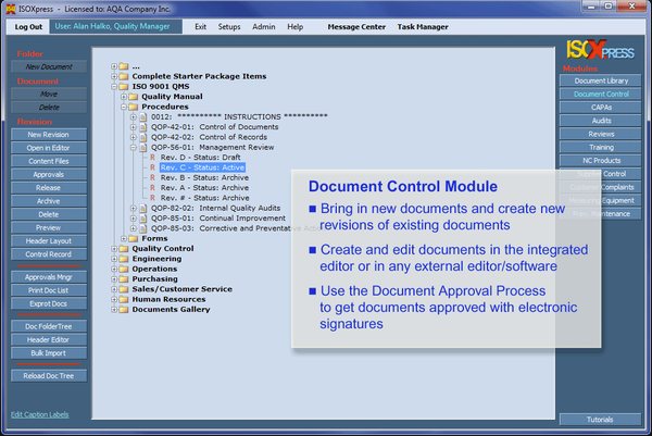 IMSXpress ISO 9001 document control module screenshot.
