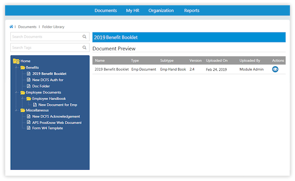 SutiHR document management screenshot