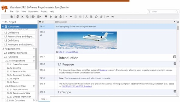 ReqView documents view