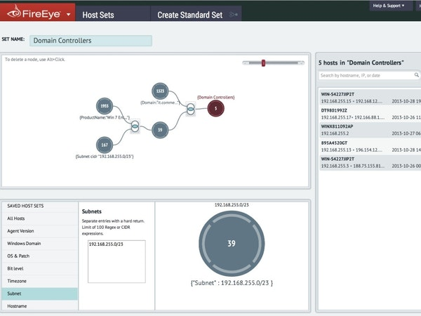 FireEye Endpoint Security domain controllers screenshot
