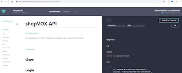 shopVOX application programming interface screenshot