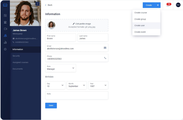 DrivED user profiles