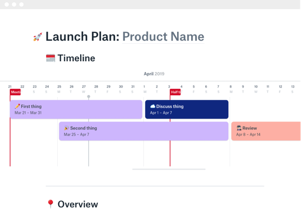 Dropbox Paper product launch plan template