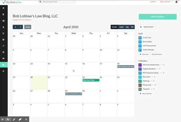 Docketwise calendar