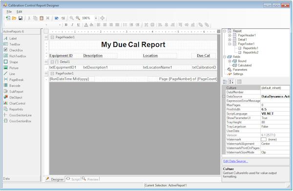 Calibration Control editing existing reports