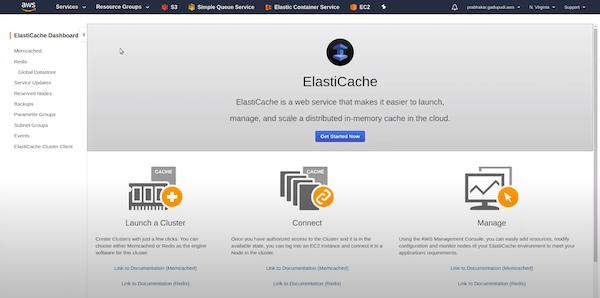 Amazon ElastiCache dashboard