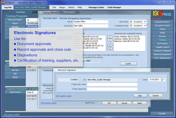 IMSXpress ISO 9001 electronic signature screenshot.
