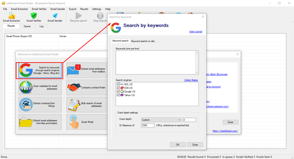 LetsExtract Email Studio search by keyword