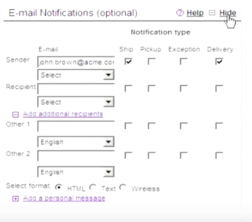 FedEx Ship Manager configuring email notifications
