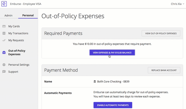 Emburse Cards out-of-policy expenses